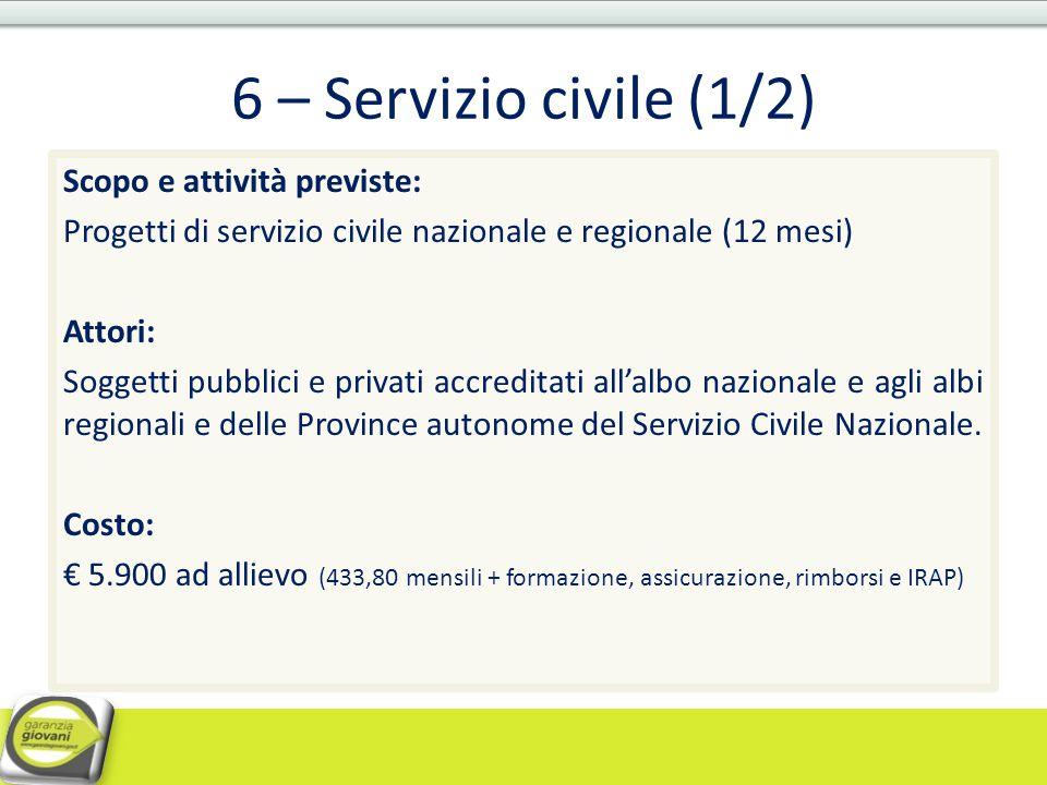 6 – Servizio civile (1/2) Scopo e attività previste: Progetti di servizio civile nazionale e regionale (12 mesi) Attori: Soggetti pubblici e privati a