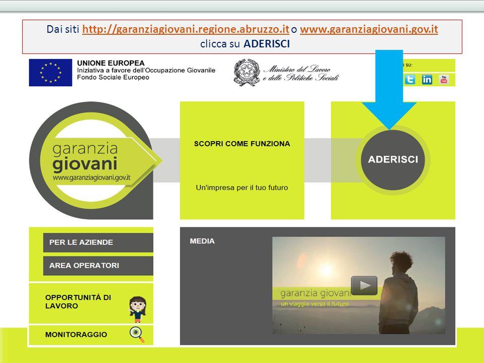 Dai siti http://garanziagiovani.regione.abruzzo.it o www.garanziagiovani.gov.ithttp://garanziagiovani.regione.abruzzo.itwww.garanziagiovani.gov.it cli