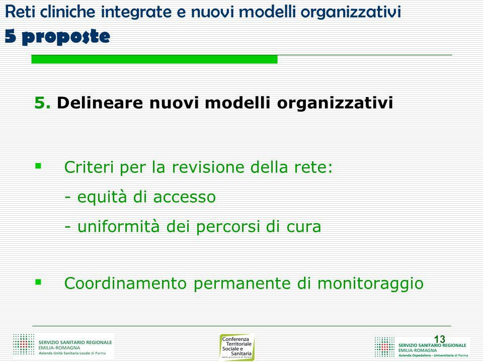 13 Reti cliniche integrate e nuovi modelli organizzativi 5 proposte 5.