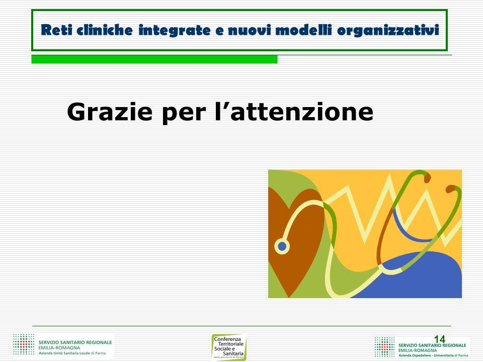 14 Grazie per l'attenzione Reti cliniche integrate e nuovi modelli organizzativi