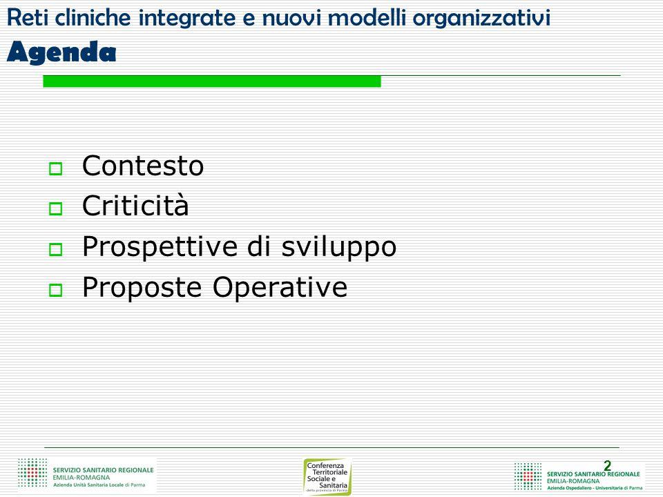 2 Reti cliniche integrate e nuovi modelli organizzativi Agenda  Contesto  Criticità  Prospettive di sviluppo  Proposte Operative
