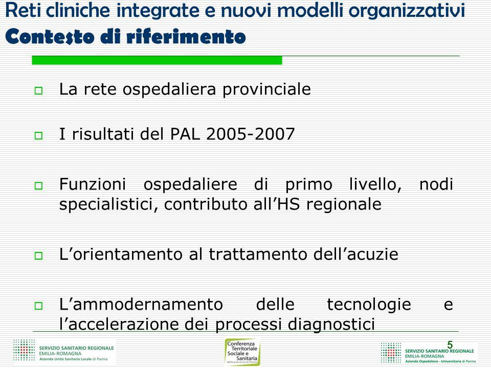 6 Reti cliniche integrate e nuovi modelli organizzativi Criticità e prospettive di sviluppo  Differenziare ulteriormente l'offerta di servizi ospedalieri  Rafforzare i percorsi interospedalieri provinciali  Contenere fenomeni di mobilità passiva (2007: 6% vs.