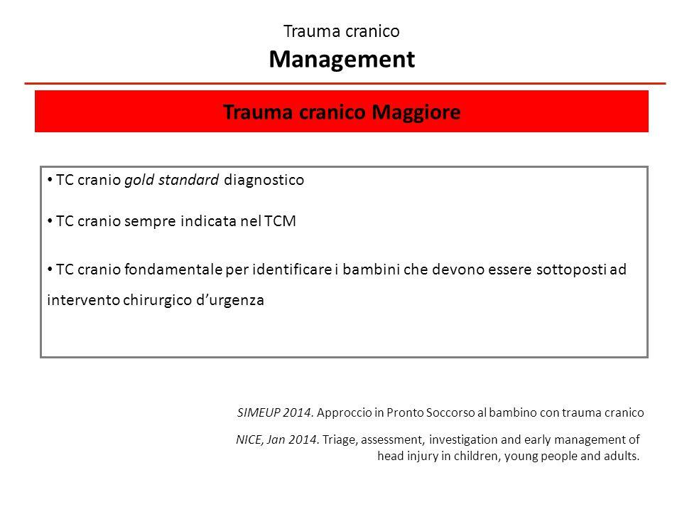 Trauma cranico Maggiore TC cranio gold standard diagnostico TC cranio sempre indicata nel TCM TC cranio fondamentale per identificare i bambini che devono essere sottoposti ad intervento chirurgico d'urgenza Trauma cranico Management SIMEUP 2014.