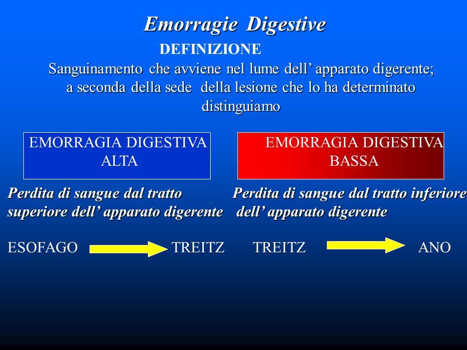 Emorragie Digestive DEFINIZIONE Sanguinamento che avviene nel lume dell' apparato digerente; a seconda della sede della lesione che lo ha determinato distinguiamo EMORRAGIA DIGESTIVA ALTA EMORRAGIA DIGESTIVA BASSA Perdita di sangue dal tratto superiore dell' apparato digerente ESOFAGO TREITZ Perdita di sangue dal tratto inferiore dell' apparato digerente dell' apparato digerente TREITZ ANO