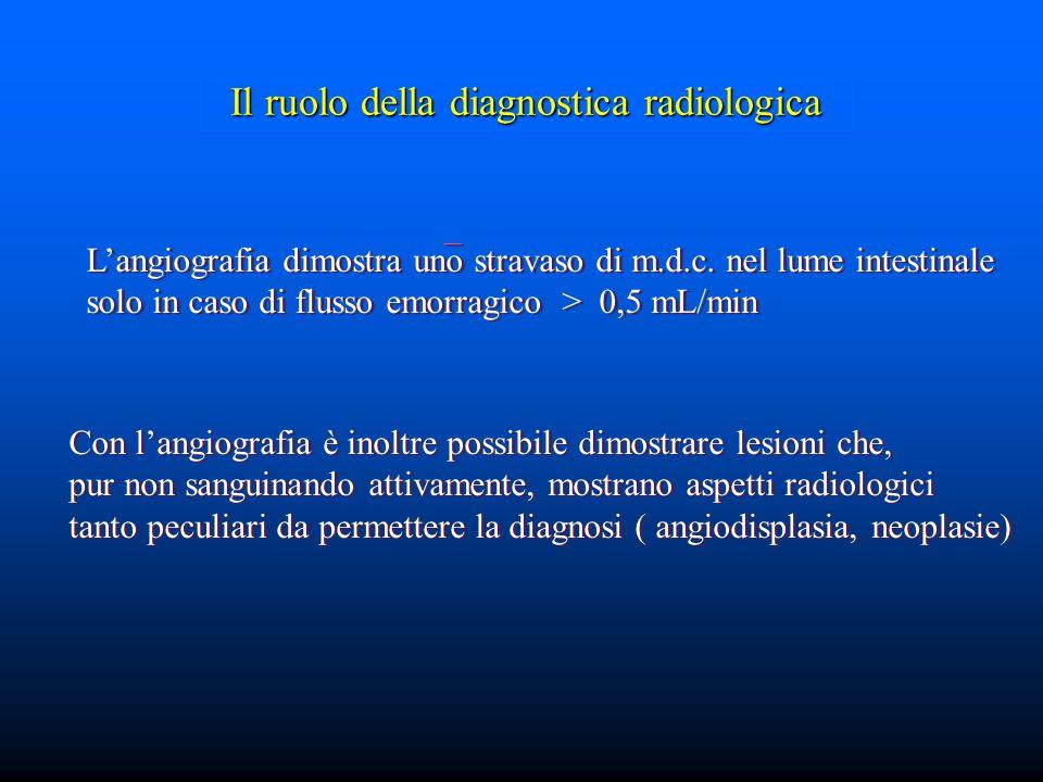 Il ruolo della diagnostica radiologica L'angiografia dimostra uno stravaso di m.d.c.