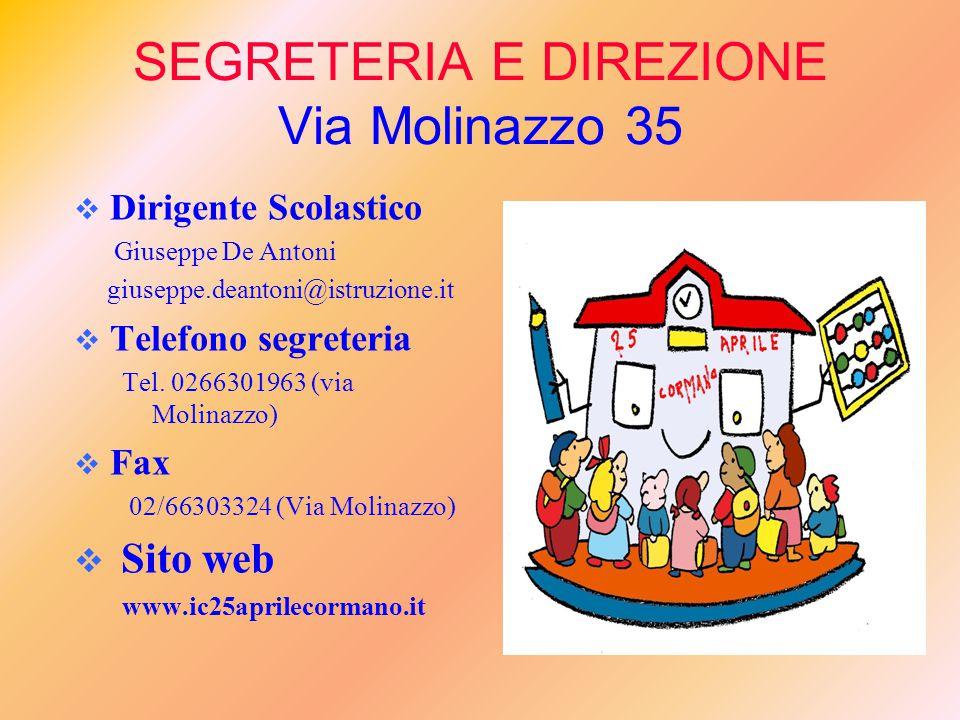 SEGRETERIA E DIREZIONE Via Molinazzo 35  Dirigente Scolastico Giuseppe De Antoni giuseppe.deantoni@istruzione.it  Telefono segreteria Tel.