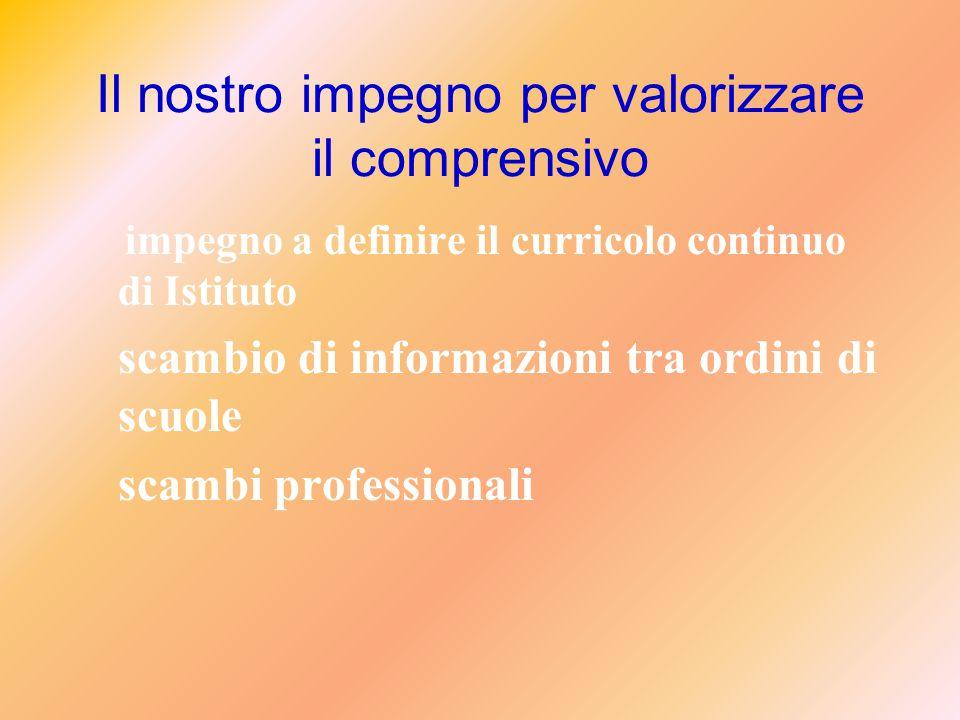 Il nostro impegno per valorizzare il comprensivo impegno a definire il curricolo continuo di Istituto scambio di informazioni tra ordini di scuole scambi professionali