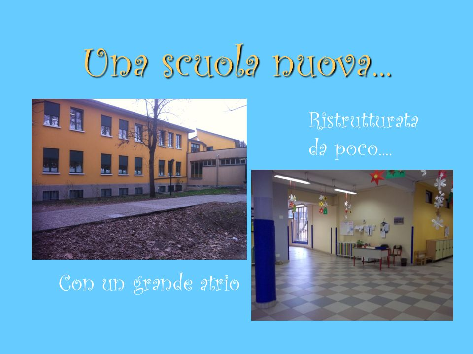 Una scuola nuova... Ristrutturata da poco.... Con un grande atrio