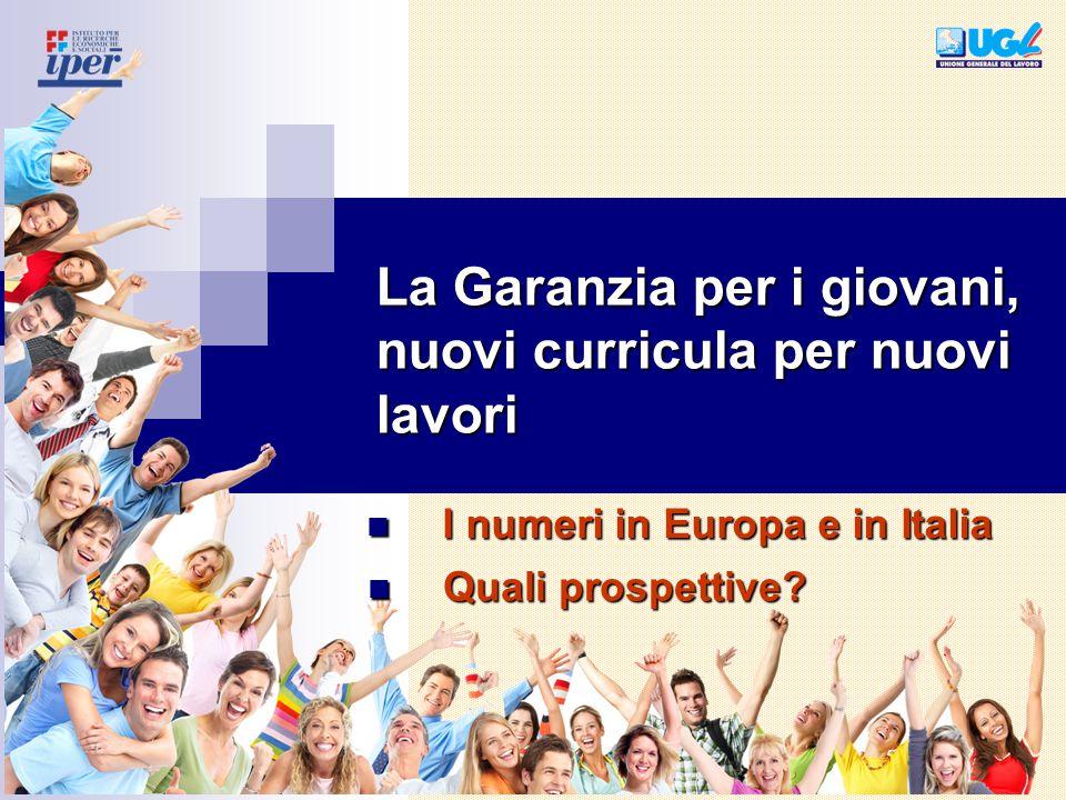 La Garanzia per i giovani, nuovi curricula per nuovi lavori Quali prospettive? Quali prospettive? I numeri in Europa e in Italia I numeri in Europa e