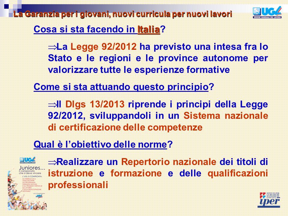 Italia Cosa si sta facendo in Italia?  La Legge 92/2012 ha previsto una intesa fra lo Stato e le regioni e le province autonome per valorizzare tutte