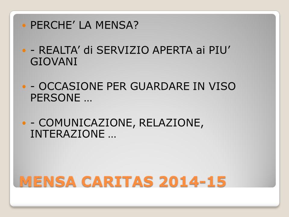 MENSA CARITAS 2014-15 PERCHE' LA MENSA.