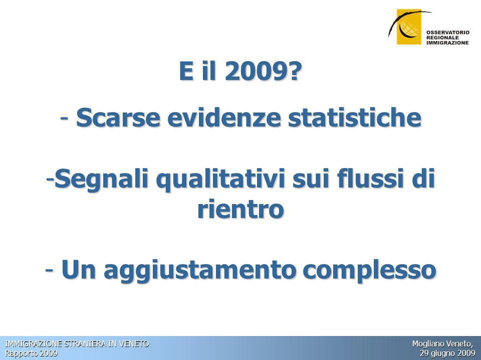 IMMIGRAZIONE STRANIERA IN VENETO Mogliano Veneto, Rapporto 2009 29 giugno 2009 E il 2009.