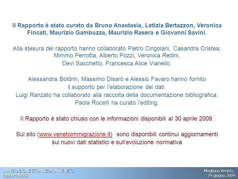 IMMIGRAZIONE STRANIERA IN VENETO Mogliano Veneto, Rapporto 2009 29 giugno 2009 Le dinamiche descritte assicurano a malapena la stabilità della popolazione in età lavorativa.