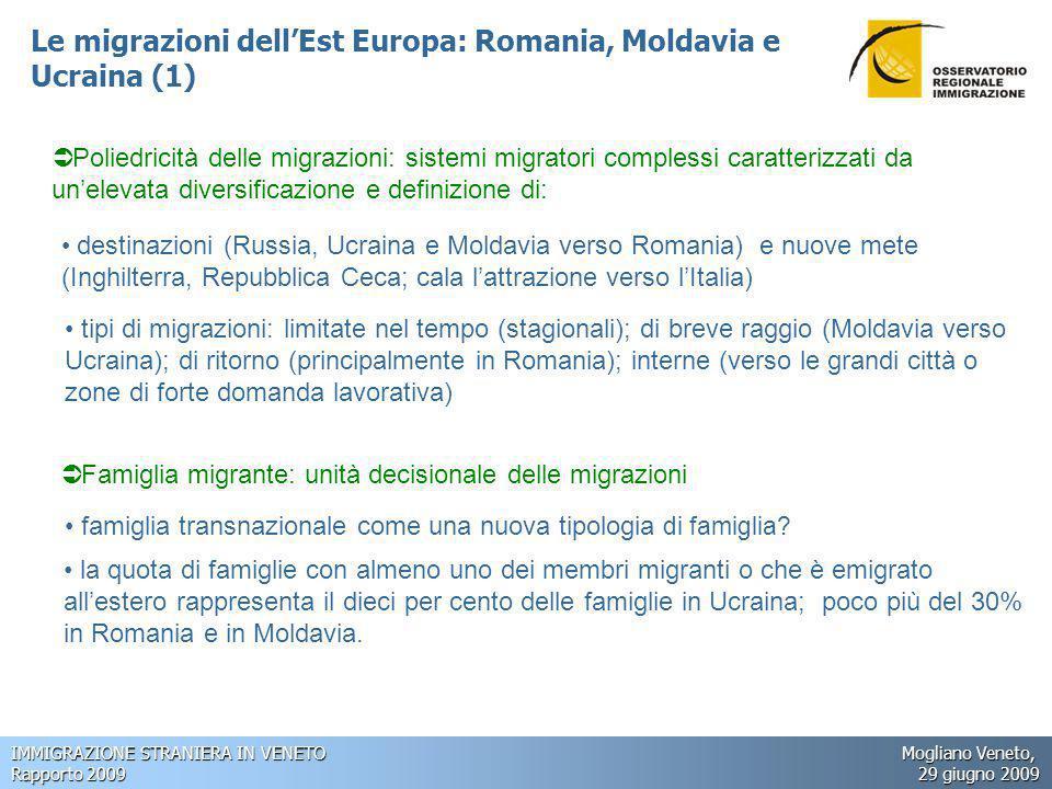 IMMIGRAZIONE STRANIERA IN VENETO Mogliano Veneto, Rapporto 2009 29 giugno 2009 Le migrazioni dell'Est Europa: Romania, Moldavia e Ucraina (1)  Poliedricità delle migrazioni: sistemi migratori complessi caratterizzati da un'elevata diversificazione e definizione di: destinazioni (Russia, Ucraina e Moldavia verso Romania) e nuove mete (Inghilterra, Repubblica Ceca; cala l'attrazione verso l'Italia) tipi di migrazioni: limitate nel tempo (stagionali); di breve raggio (Moldavia verso Ucraina); di ritorno (principalmente in Romania); interne (verso le grandi città o zone di forte domanda lavorativa)  Famiglia migrante: unità decisionale delle migrazioni famiglia transnazionale come una nuova tipologia di famiglia.