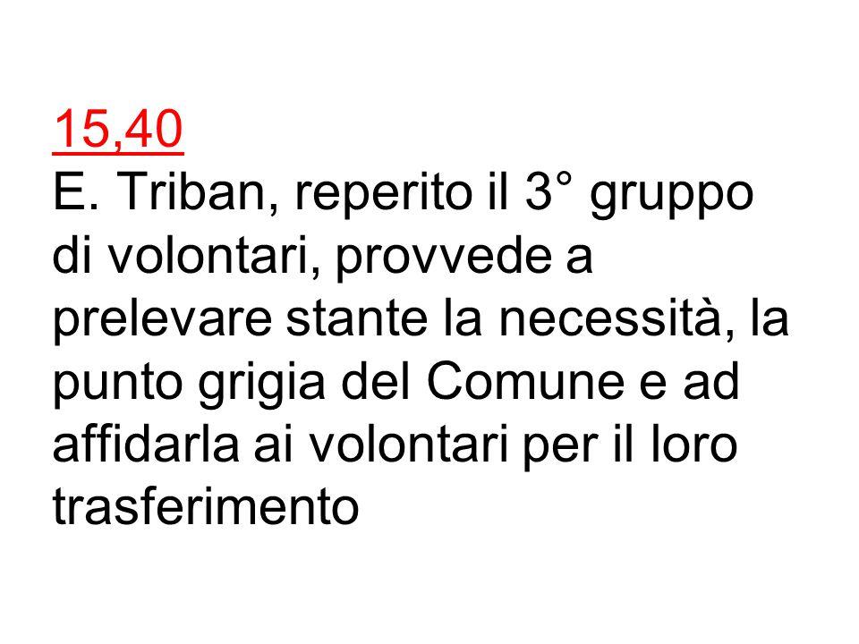 Ore15,20 Parte il 2° gruppo di volontari per le ricerche nel settore 3, formato da: Latini, caposquadra, Chiovetto e Scagliotti