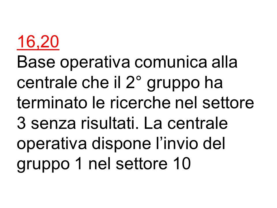 16,15 Ceron richiede la presenza presso la centrale operativa del coordinatore E. Triban