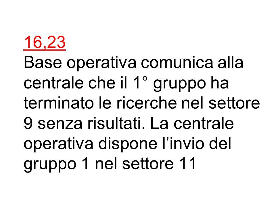16,20 Base operativa comunica alla centrale che il 2° gruppo ha terminato le ricerche nel settore 3 senza risultati.