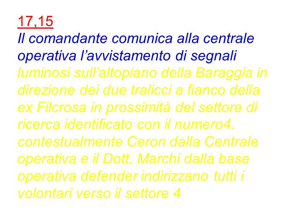 16,23 Base operativa comunica alla centrale che il 1° gruppo ha terminato le ricerche nel settore 9 senza risultati.