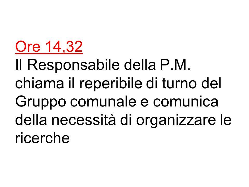 Ore 14,32 Il Responsabile della P.M.