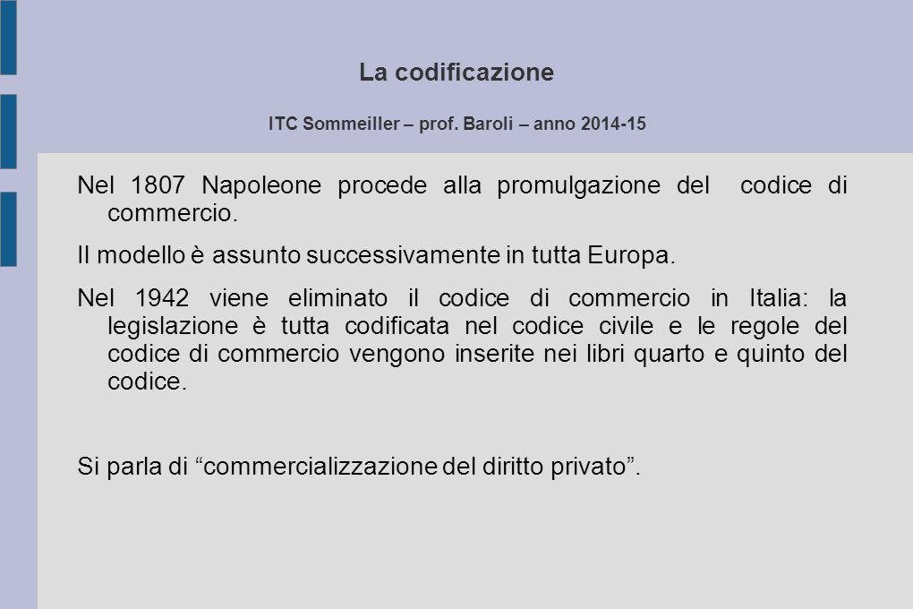 La codificazione ITC Sommeiller – prof. Baroli – anno 2014-15 Nel 1807 Napoleone procede alla promulgazione del codice di commercio. Il modello è assu