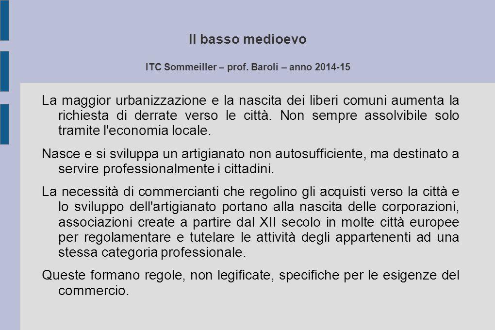 Il basso medioevo ITC Sommeiller – prof. Baroli – anno 2014-15 La maggior urbanizzazione e la nascita dei liberi comuni aumenta la richiesta di derrat