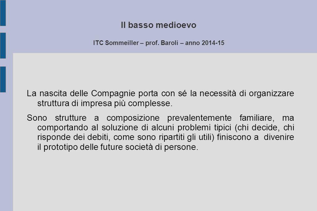 Il basso medioevo ITC Sommeiller – prof. Baroli – anno 2014-15 La nascita delle Compagnie porta con sé la necessità di organizzare struttura di impres