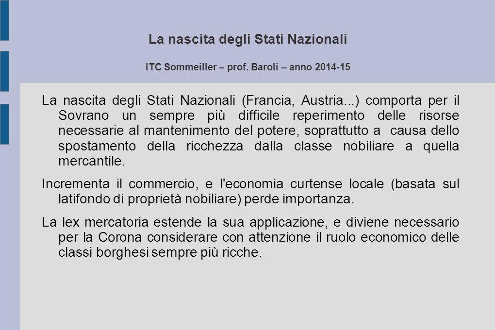La nascita degli Stati Nazionali ITC Sommeiller – prof. Baroli – anno 2014-15 La nascita degli Stati Nazionali (Francia, Austria...) comporta per il S