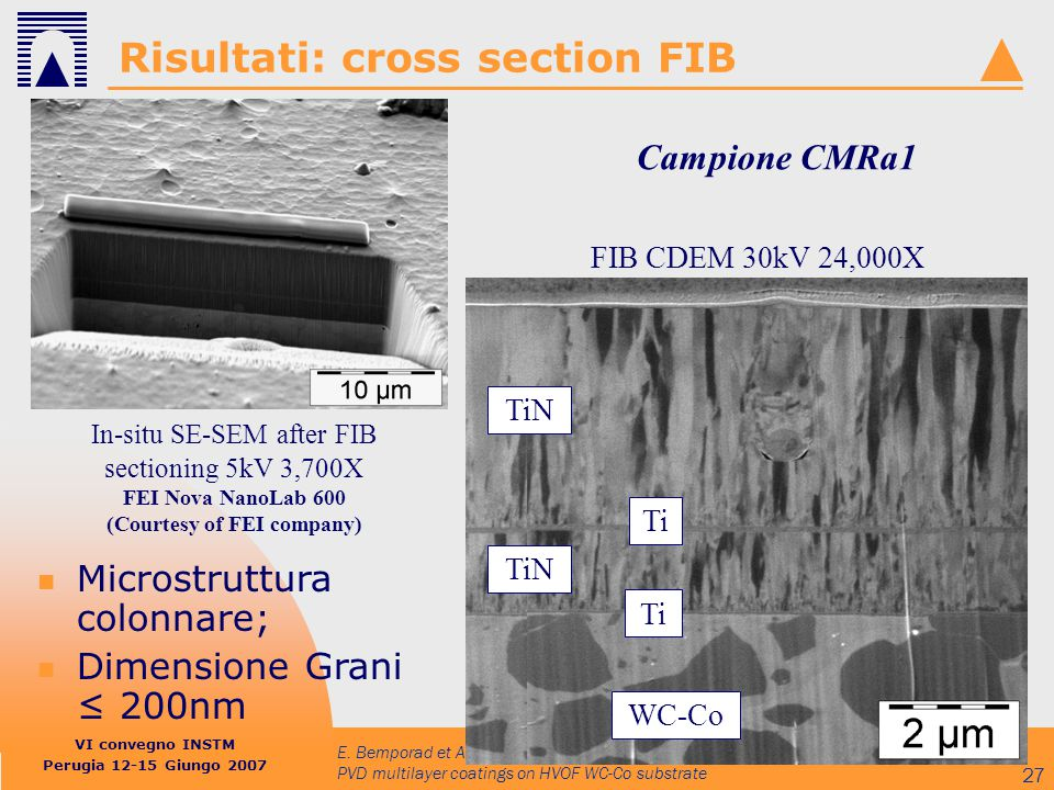 VI convegno INSTM Perugia 12-15 Giungo 2007 E. Bemporad et Al.: Nano-microstructural and nano-mechanical characterisation of PVD multilayer coatings o