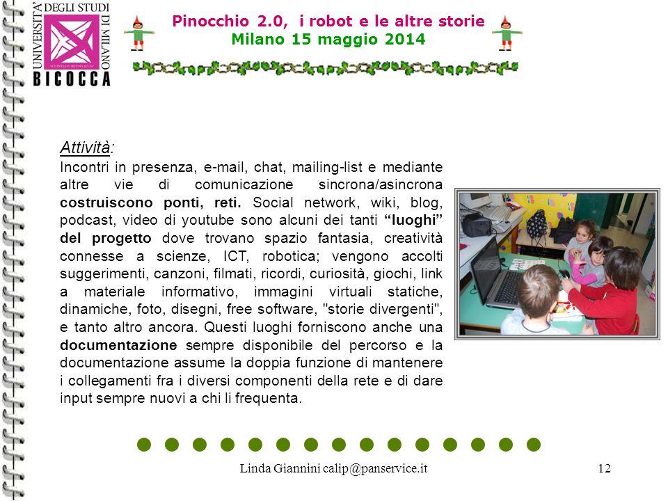 Linda Giannini calip@panservice.it12 Attività: Incontri in presenza, e-mail, chat, mailing-list e mediante altre vie di comunicazione sincrona/asincro