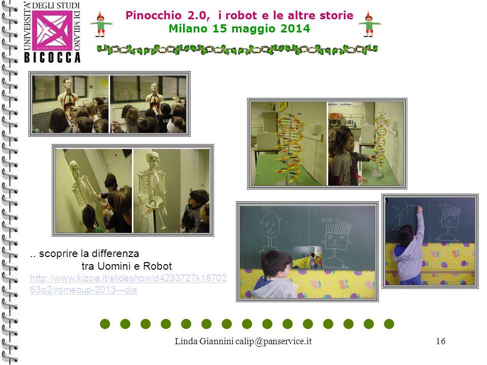 Linda Giannini calip@panservice.it16 Pinocchio 2.0, i robot e le altre storie Milano 15 maggio 2014.. scoprire la differenza tra Uomini e Robot http:/