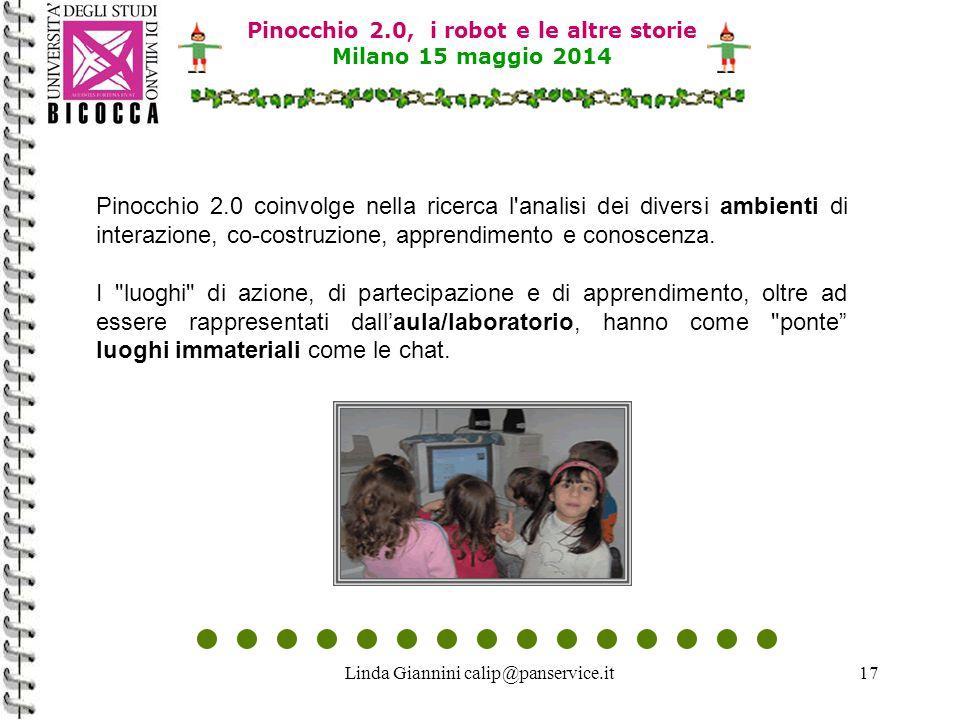 Linda Giannini calip@panservice.it17 Pinocchio 2.0, i robot e le altre storie Milano 15 maggio 2014 Pinocchio 2.0 coinvolge nella ricerca l analisi dei diversi ambienti di interazione, co-costruzione, apprendimento e conoscenza.