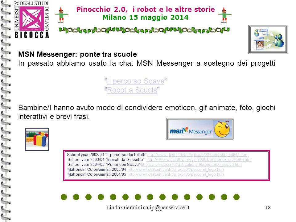 Linda Giannini calip@panservice.it18 Pinocchio 2.0, i robot e le altre storie Milano 15 maggio 2014 MSN Messenger: ponte tra scuole In passato abbiamo