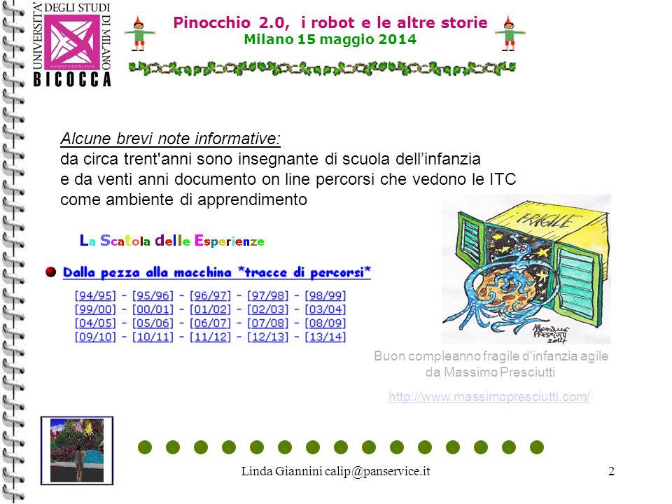 Linda Giannini calip@panservice.it13 Pinocchio 2.0, i robot e le altre storie Milano 15 maggio 2014 Questa è la nostra sezione