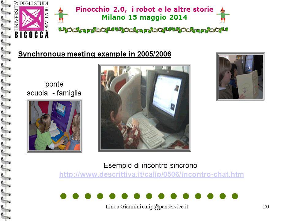 Linda Giannini calip@panservice.it20 Pinocchio 2.0, i robot e le altre storie Milano 15 maggio 2014 Synchronous meeting example in 2005/2006 Esempio di incontro sincrono http://www.descrittiva.it/calip/0506/incontro-chat.htmhttp://www.descrittiva.it/calip/0506/incontro-chat.htm ponte scuola - famiglia