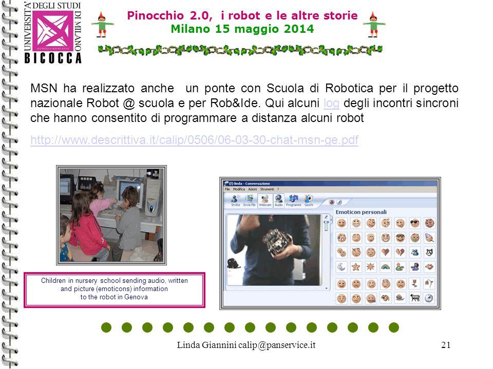 Linda Giannini calip@panservice.it21 Pinocchio 2.0, i robot e le altre storie Milano 15 maggio 2014 MSN ha realizzato anche un ponte con Scuola di Robotica per il progetto nazionale Robot @ scuola e per Rob&Ide.