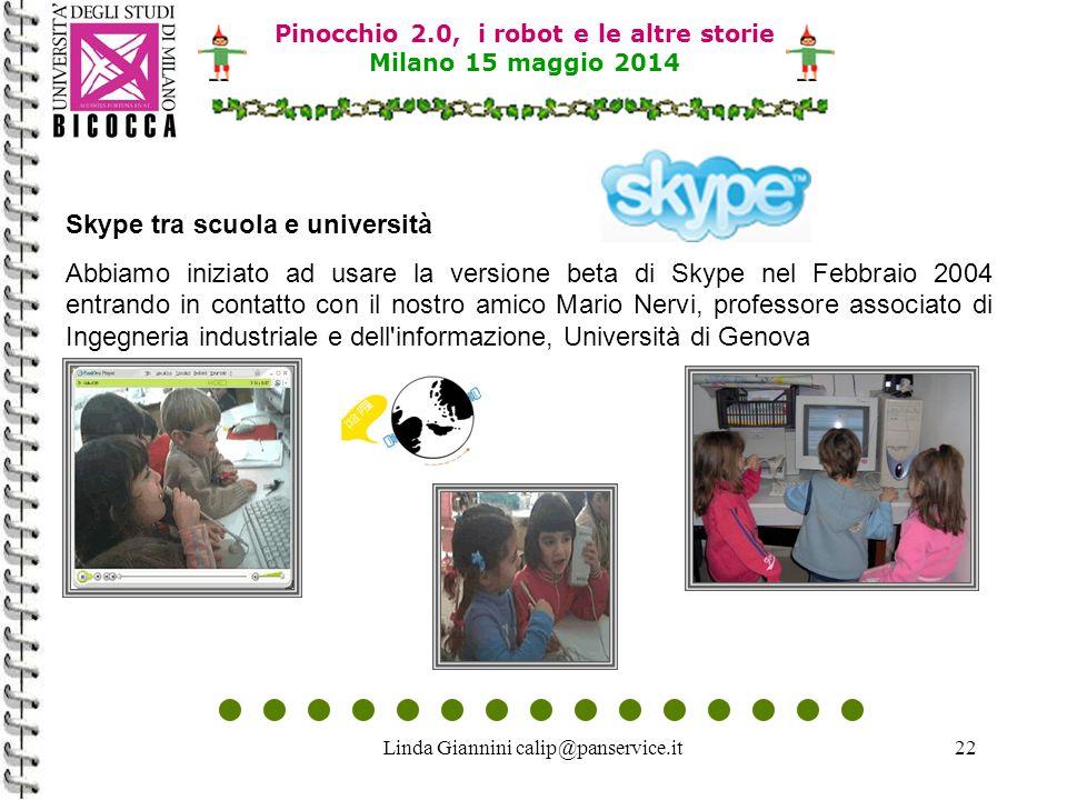 Linda Giannini calip@panservice.it22 Pinocchio 2.0, i robot e le altre storie Milano 15 maggio 2014 Skype tra scuola e università Abbiamo iniziato ad