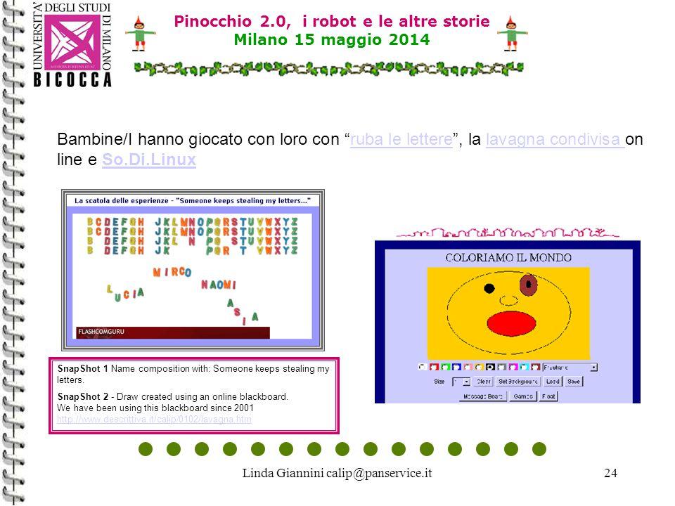 """Linda Giannini calip@panservice.it24 Pinocchio 2.0, i robot e le altre storie Milano 15 maggio 2014 Bambine/I hanno giocato con loro con """"ruba le lett"""