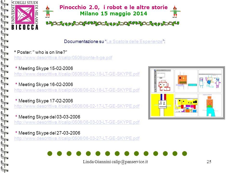 Linda Giannini calip@panservice.it25 Pinocchio 2.0, i robot e le altre storie Milano 15 maggio 2014 Documentazione su La Scatola delle Esperienze :La Scatola delle Esperienze * Poster: who is on line http://www.descrittiva.it/calip/0506/ponte-lt-ge.pdf * Meeting Skype 15-02-2006 http://www.descrittiva.it/calip/0506/06-02-15-LT-GE-SKYPE.pdf * Meeting Skype 16-02-2006 http://www.descrittiva.it/calip/0506/06-02-16-LT-GE-SKYPE.pdf * Meeting Skype 17-02-2006 http://www.descrittiva.it/calip/0506/06-02-17-LT-GE-SKYPE.pdf * Meeting Skype del 03-03-2006 http://www.descrittiva.it/calip/0506/06-03-03-LT-GE-SKYPE.pdf * Meeting Skype del 27-03-2006 http://www.descrittiva.it/calip/0506/06-03-27-LT-GE-SKYPE.pdf