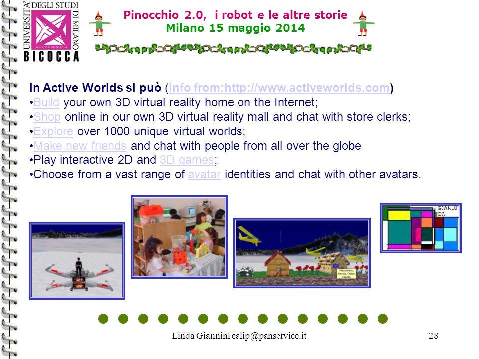 Linda Giannini calip@panservice.it28 Pinocchio 2.0, i robot e le altre storie Milano 15 maggio 2014 In Active Worlds si può (Info from:http://www.acti
