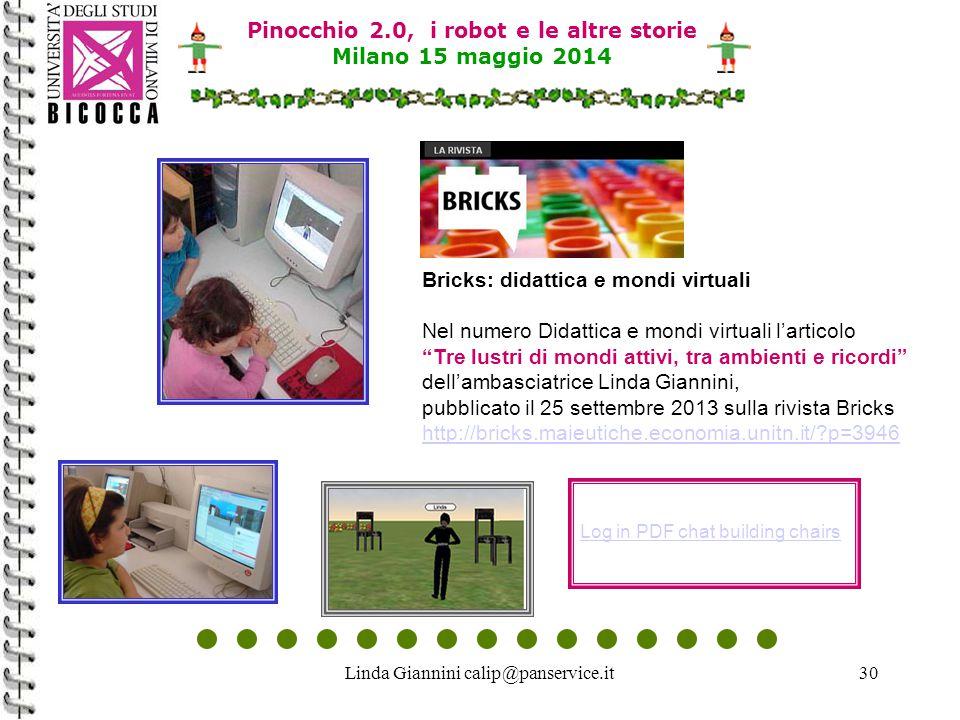 Linda Giannini calip@panservice.it30 Pinocchio 2.0, i robot e le altre storie Milano 15 maggio 2014 Log in PDF chat building chairs Bricks: didattica