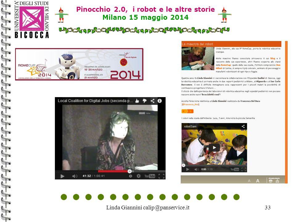 Linda Giannini calip@panservice.it33 Pinocchio 2.0, i robot e le altre storie Milano 15 maggio 2014