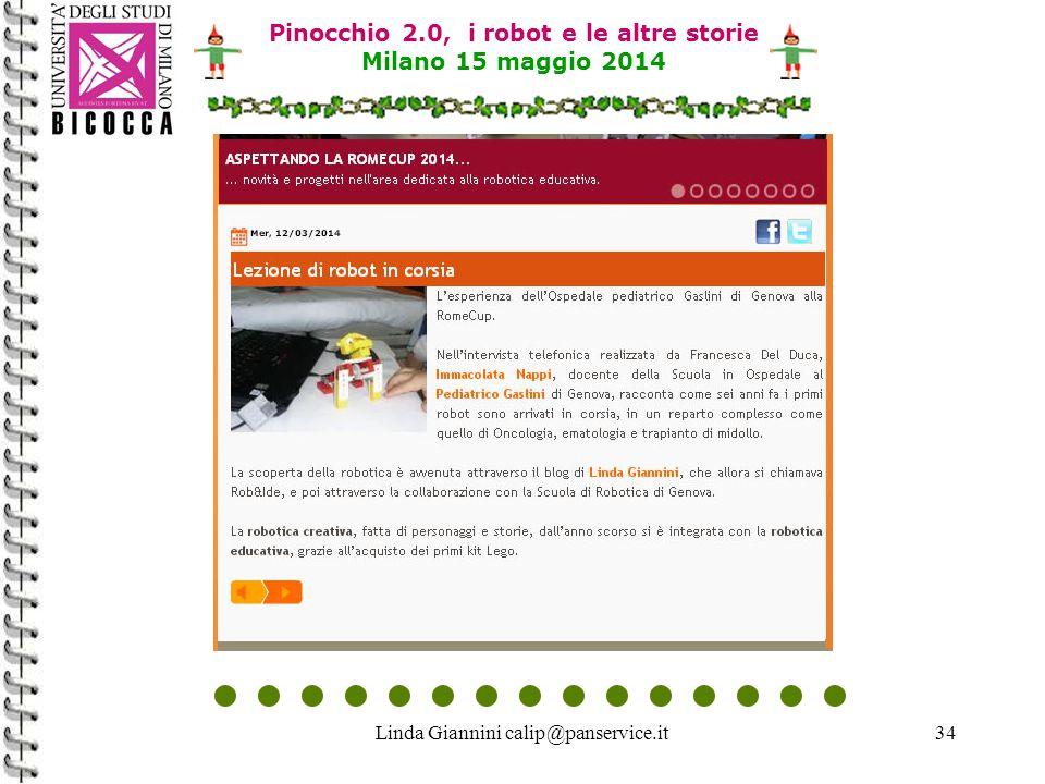 Linda Giannini calip@panservice.it34 Pinocchio 2.0, i robot e le altre storie Milano 15 maggio 2014