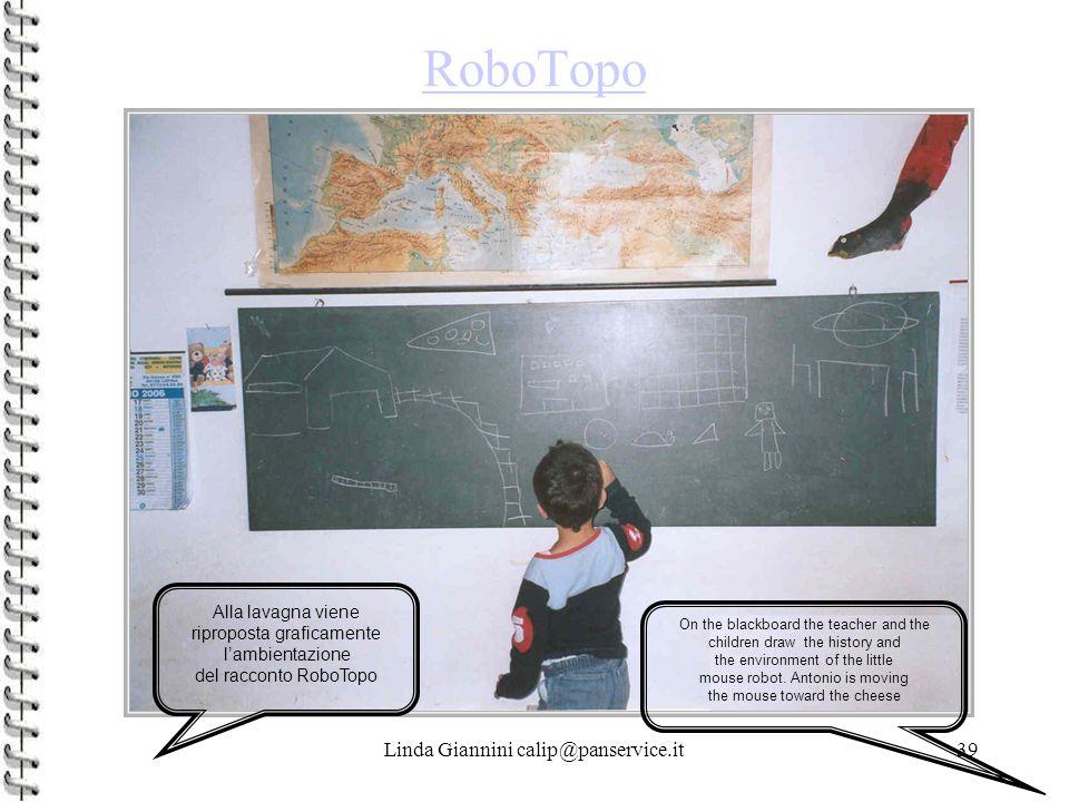 Linda Giannini calip@panservice.it39 RoboTopo Alla lavagna viene riproposta graficamente l'ambientazione del racconto RoboTopo On the blackboard the teacher and the children draw the history and the environment of the little mouse robot.