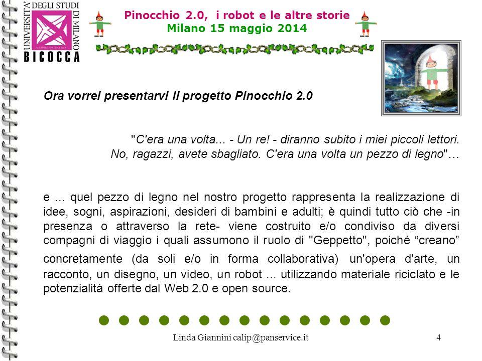 Linda Giannini calip@panservice.it25 Pinocchio 2.0, i robot e le altre storie Milano 15 maggio 2014 Documentazione su La Scatola delle Esperienze :La Scatola delle Esperienze * Poster: who is on line? http://www.descrittiva.it/calip/0506/ponte-lt-ge.pdf * Meeting Skype 15-02-2006 http://www.descrittiva.it/calip/0506/06-02-15-LT-GE-SKYPE.pdf * Meeting Skype 16-02-2006 http://www.descrittiva.it/calip/0506/06-02-16-LT-GE-SKYPE.pdf * Meeting Skype 17-02-2006 http://www.descrittiva.it/calip/0506/06-02-17-LT-GE-SKYPE.pdf * Meeting Skype del 03-03-2006 http://www.descrittiva.it/calip/0506/06-03-03-LT-GE-SKYPE.pdf * Meeting Skype del 27-03-2006 http://www.descrittiva.it/calip/0506/06-03-27-LT-GE-SKYPE.pdf