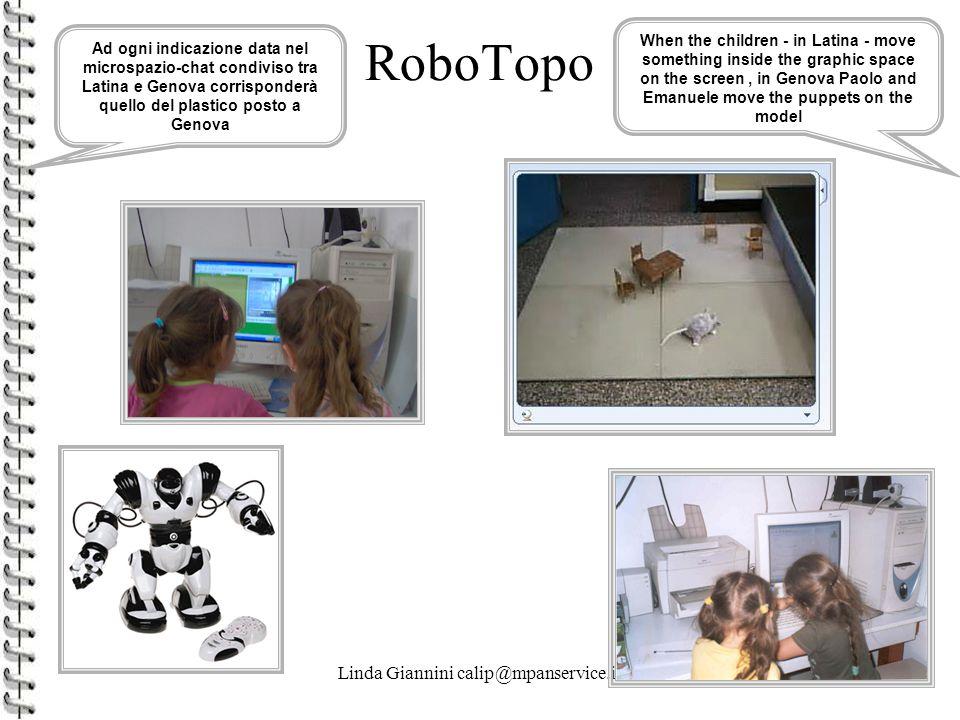 Linda Giannini calip@mpanservice.it42 RoboTopo Ad ogni indicazione data nel microspazio-chat condiviso tra Latina e Genova corrisponderà quello del pl