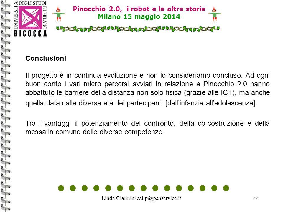 Linda Giannini calip@panservice.it44 Conclusioni Il progetto è in continua evoluzione e non lo consideriamo concluso. Ad ogni buon conto i vari micro