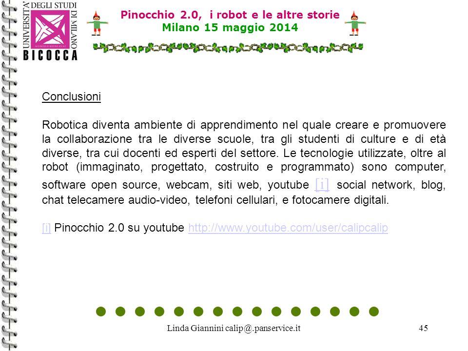 Linda Giannini calip@.panservice.it45 Conclusioni Robotica diventa ambiente di apprendimento nel quale creare e promuovere la collaborazione tra le di