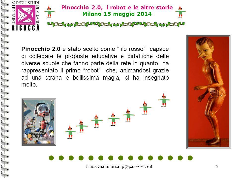Linda Giannini calip@panservice.it6 Pinocchio 2.0 è stato scelto come filo rosso capace di collegare le proposte educative e didattiche delle diverse scuole che fanno parte della rete in quanto ha rappresentato il primo robot che, animandosi grazie ad una strana e bellissima magia, ci ha insegnato molto.