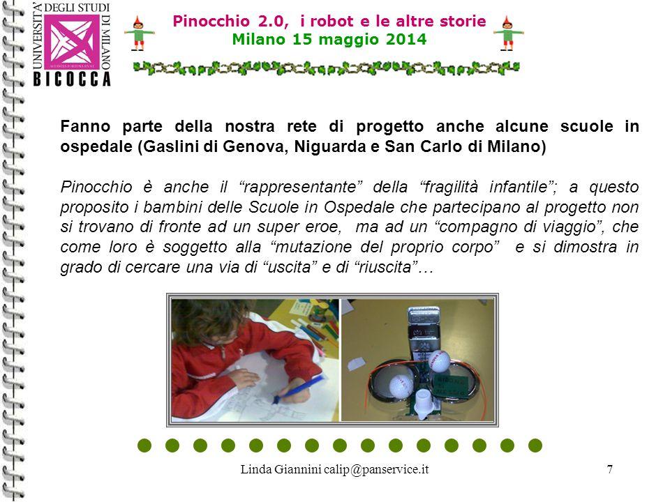 Linda Giannini calip@panservice.it8 Pinocchio 2.0: la robotica e ICT come ambiente di apprendimento Pinocchio 2.0 ha avvicinato bambine/i alla robotica educativa ed alle ICT in modo attraente, equilibrato, creativo, divertente e facile; i percorsi sono stati sostenuti da esperienze dirette e concrete derivanti dalla realtà.