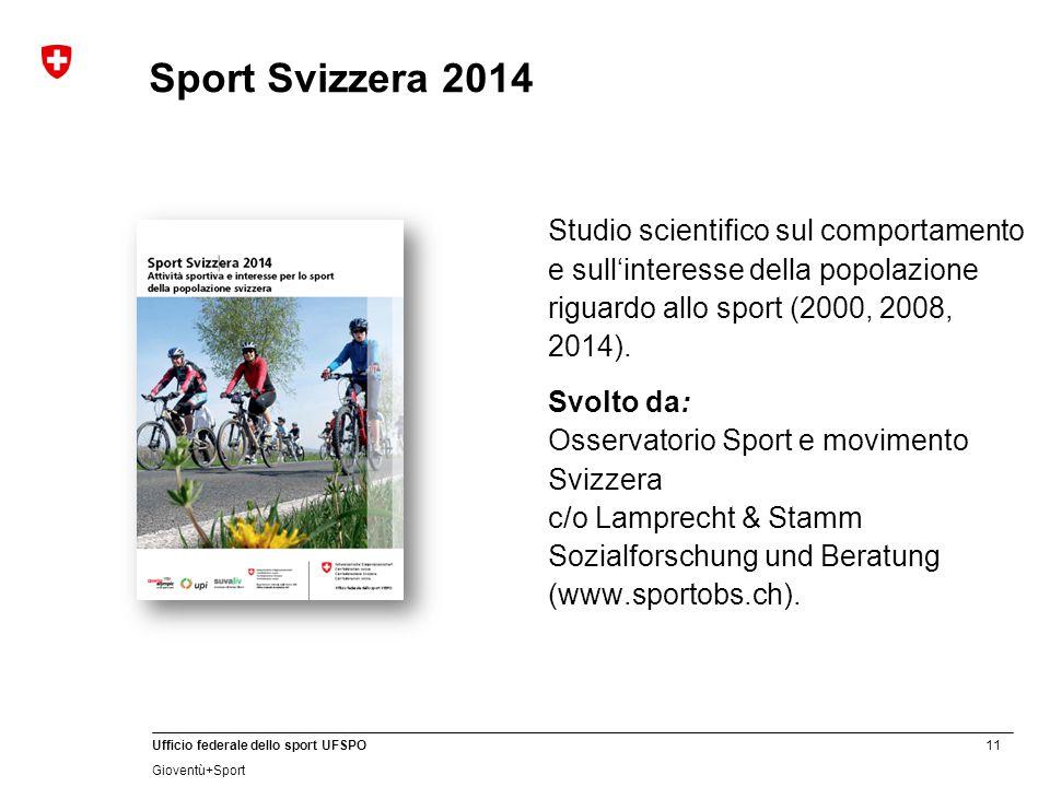 11 Ufficio federale dello sport UFSPO Gioventù+Sport Sport Svizzera 2014 Studio scientifico sul comportamento e sull'interesse della popolazione riguardo allo sport (2000, 2008, 2014).